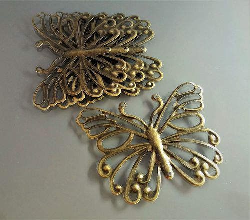 4 papillons 5cm filigrane coloris bronze