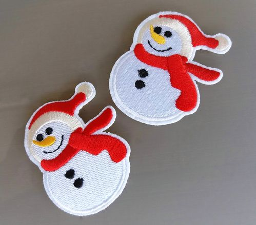 2 Ecussons bonhomme de neige thermocollant