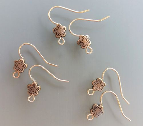 6 supports boucles d'oreilles perles cuivres