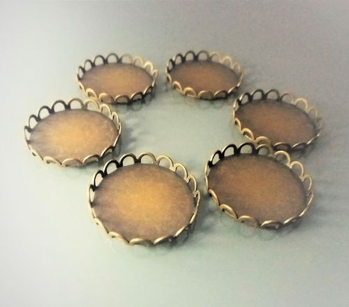 6 supports cabochons ronds 20 mm bronze