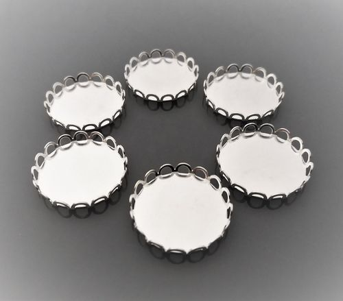 6 supports cabochons ronds 20 mm argent