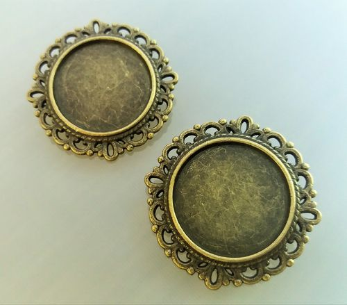 2 supports de broches bronze cabochons 20 mm