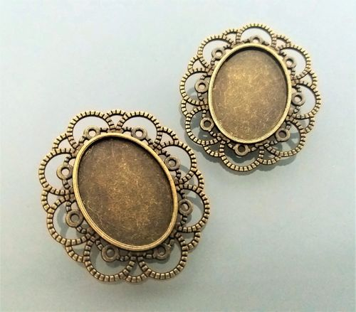 2 supports broches cabochons coloris bronze