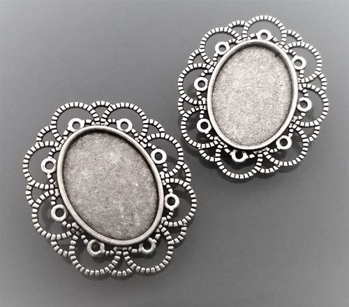 2 supports broches cabochons coloris argent