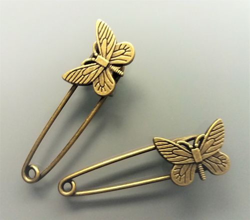 2 broches 5,2 cm papillons coloris bronze