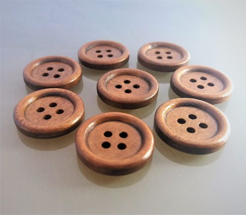 8 boutons bois marron ronds 20 mm 4 trous
