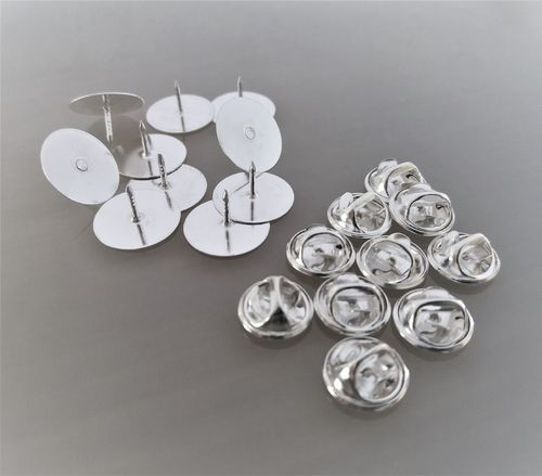 10 supports pin's coloris argent base 15 mm