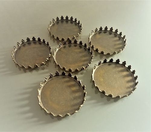 6 supports cabochons ronds 25 mm bronze