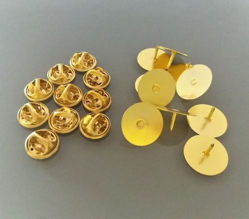 10 supports pin's coloris doré base 15 mm